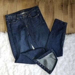 Cache Skinny Jean with Gold Button Ankles Size 6